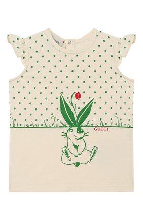 Детский хлопковая футболка GUCCI зеленого цвета, арт. 555673/XJCAG | Фото 1