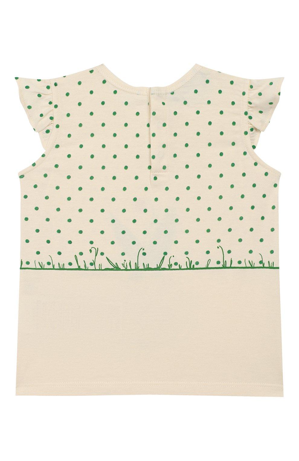 Детский хлопковая футболка GUCCI зеленого цвета, арт. 555673/XJCAG | Фото 2