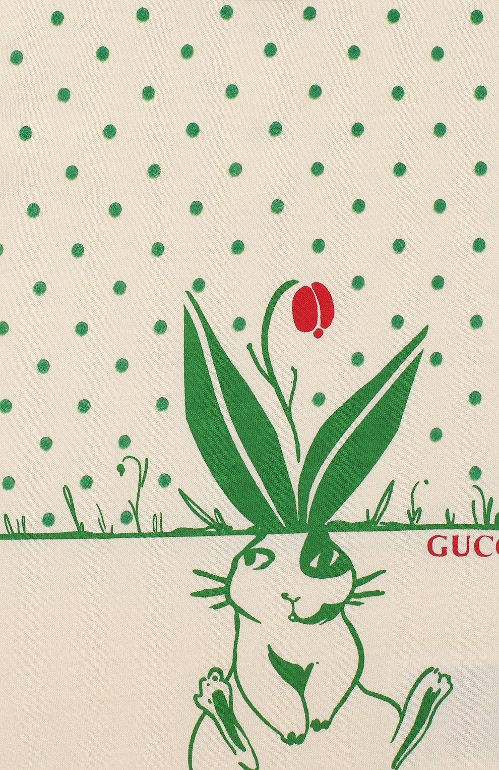 Детский хлопковая футболка GUCCI зеленого цвета, арт. 555673/XJCAG | Фото 3