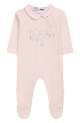 Детский хлопковый комбинезон TARTINE ET CHOCOLAT розового цвета, арт. TQ54121 | Фото 1