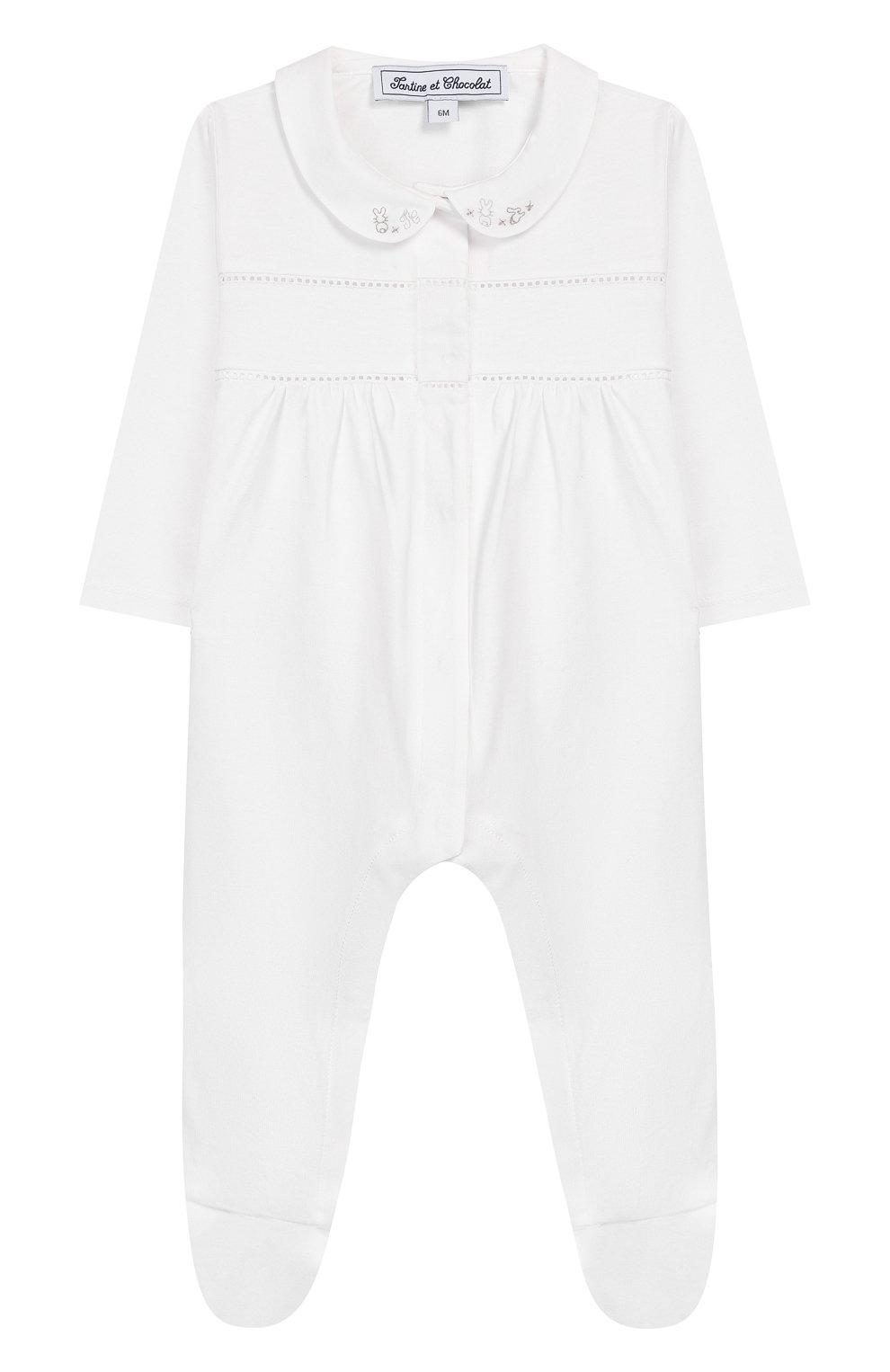 Детский хлопковый комбинезон TARTINE ET CHOCOLAT белого цвета, арт. TQ54091 | Фото 1