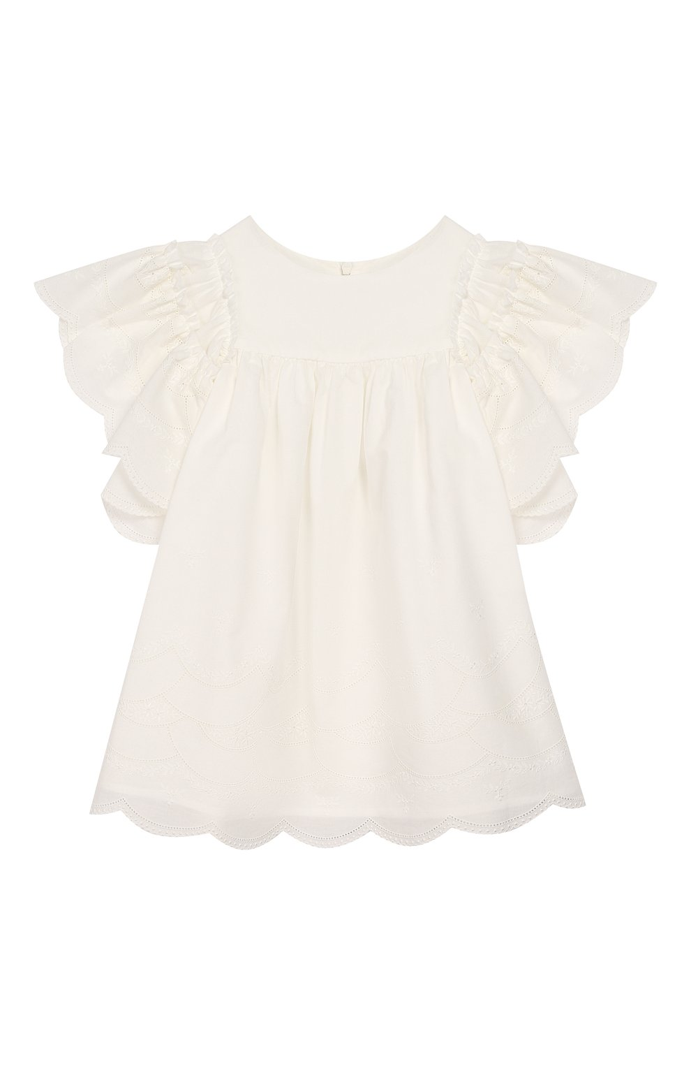 Детское хлопковое платье TARTINE ET CHOCOLAT бежевого цвета, арт. TQ30182 | Фото 1 (Рукава: Короткие; Случай: Повседневный; Материал внешний: Хлопок; Материал подклада: Хлопок)