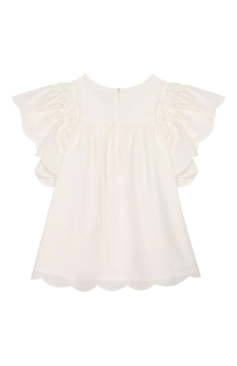 Детское хлопковое платье TARTINE ET CHOCOLAT бежевого цвета, арт. TQ30182 | Фото 2 (Рукава: Короткие; Случай: Повседневный; Материал внешний: Хлопок; Материал подклада: Хлопок)
