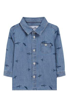 Детский хлопковая рубашка TARTINE ET CHOCOLAT голубого цвета, арт. TQ12081 | Фото 1