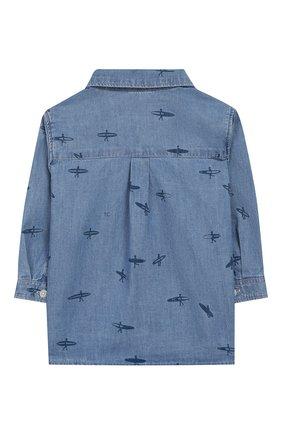 Детский хлопковая рубашка TARTINE ET CHOCOLAT голубого цвета, арт. TQ12081 | Фото 2