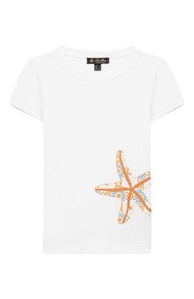 Детская хлопковая футболка LORO PIANA белого цвета, арт. FAI9443 | Фото 1