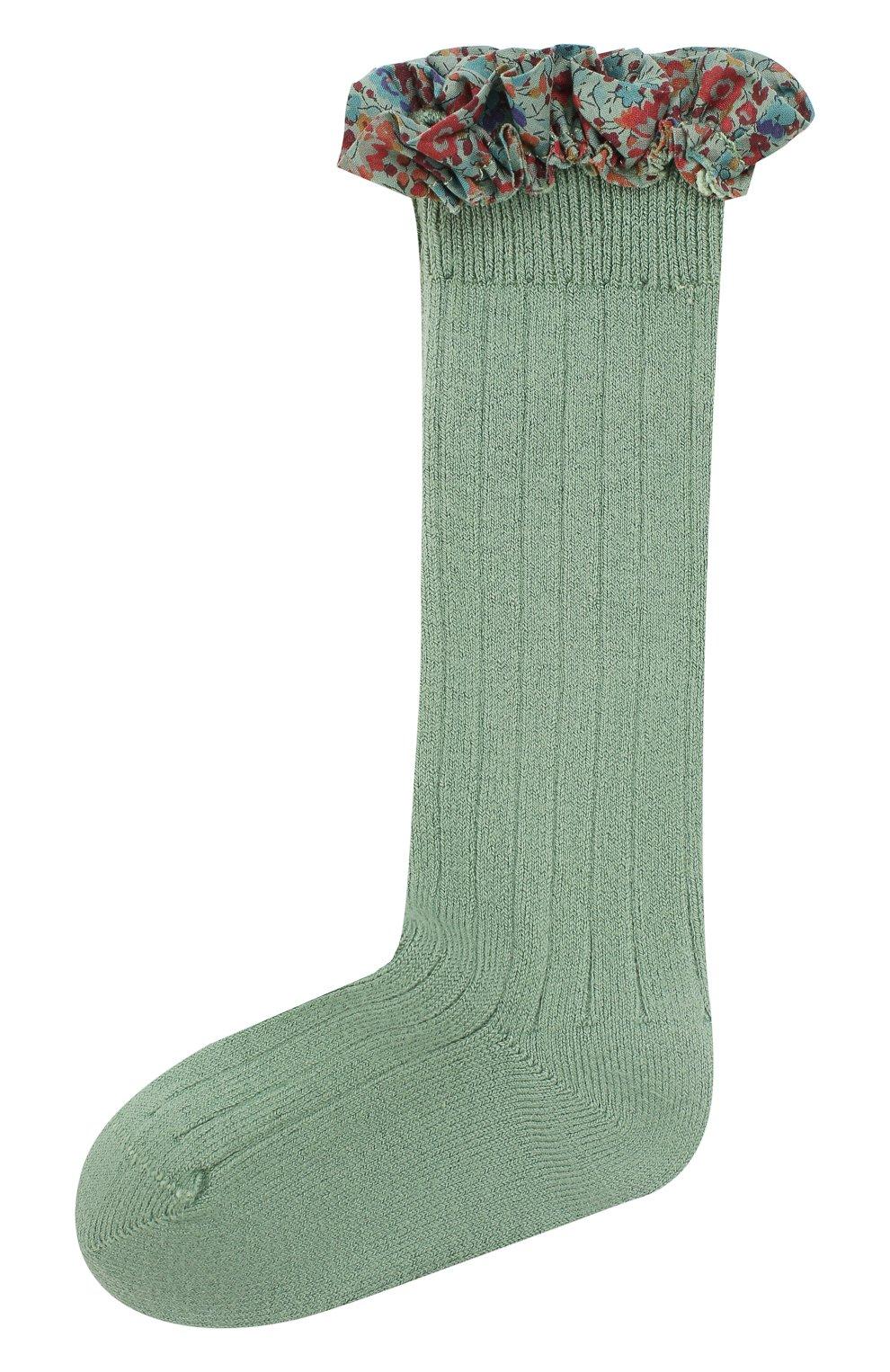 Детские гольфы COLLEGIEN зеленого цвета, арт. 2956   Фото 1 (Материал: Текстиль, Хлопок)