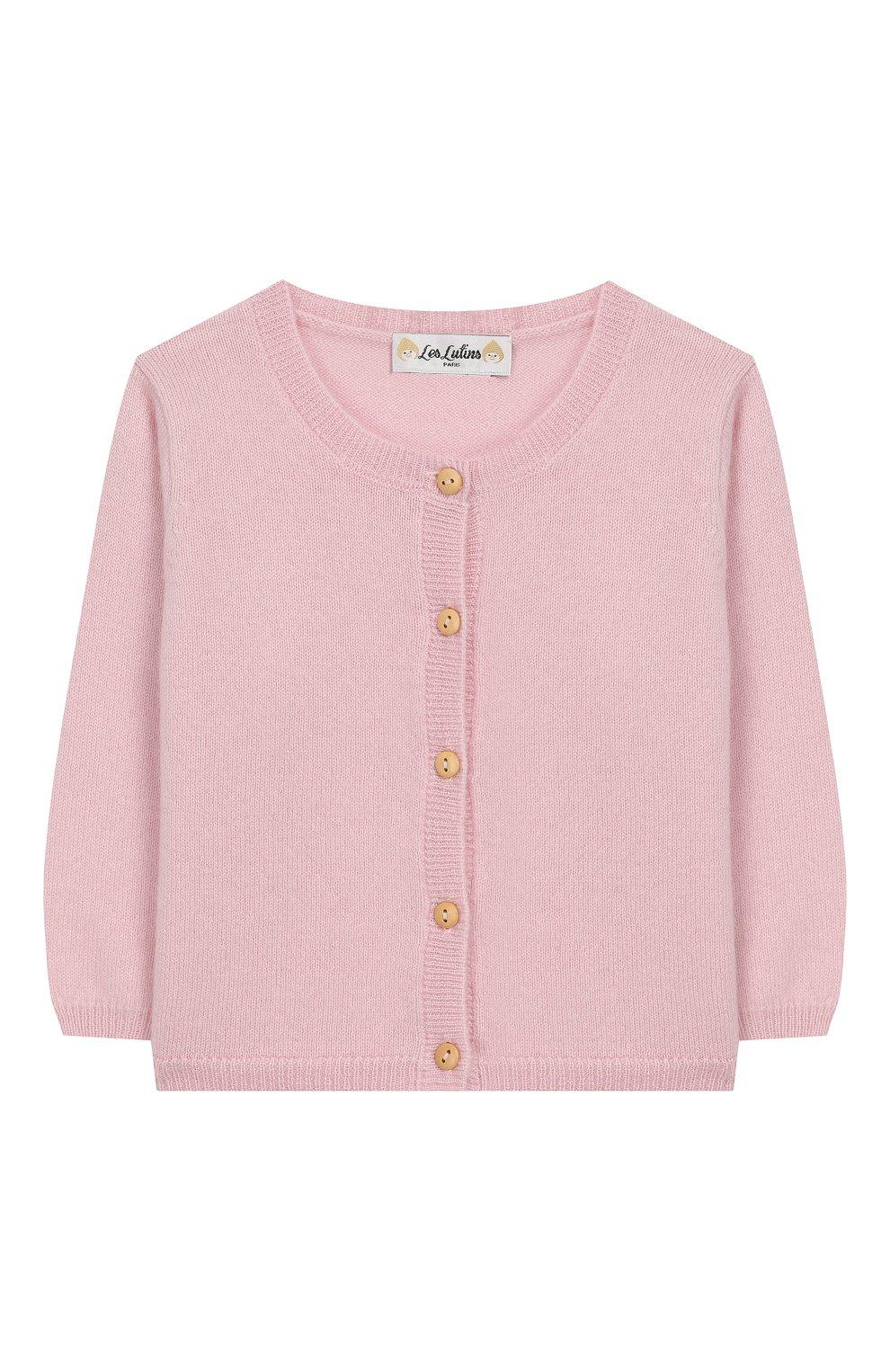 Детский кашемировый кардиган LES LUTINS розового цвета, арт. 20E003/N0EMIE | Фото 1