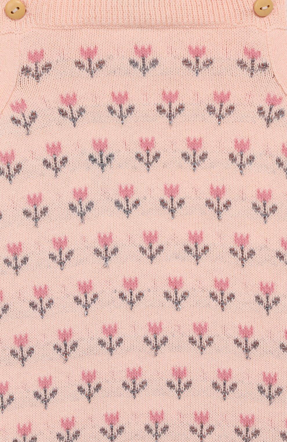 Детский хлопковый комбинезон LES LUTINS розового цвета, арт. 20E048/LINE | Фото 3