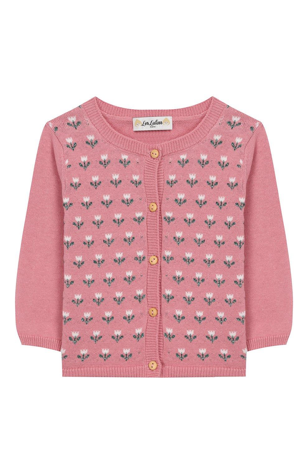 Детский хлопковый кардиган LES LUTINS розового цвета, арт. 20E050/FL0RA | Фото 1
