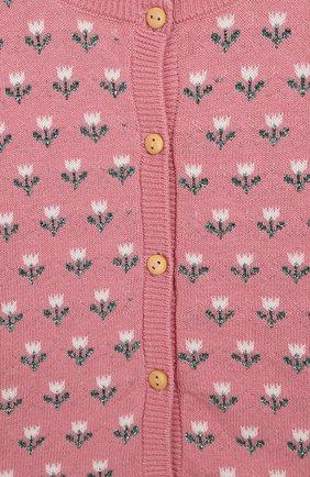 Детский хлопковый кардиган LES LUTINS розового цвета, арт. 20E050/FL0RA | Фото 3