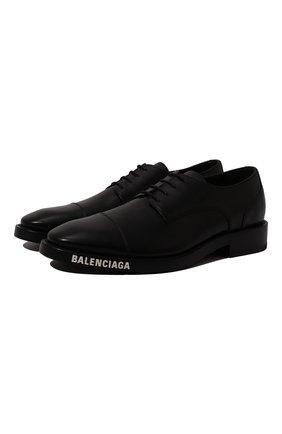 Мужской кожаные дерби BALENCIAGA черного цвета, арт. 590716/WA720 | Фото 1
