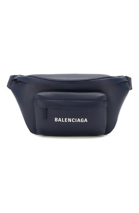Мужская кожаная поясная сумка everyday BALENCIAGA темно-синего цвета, арт. 552375/DLQ4N | Фото 1