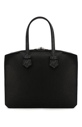 Мужской кожаный портфель MOREAU черного цвета, арт. SVICJUTTVICMSTB | Фото 1