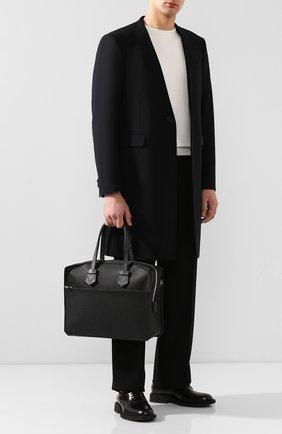 Мужской кожаный портфель MOREAU черного цвета, арт. SVICJUTTVICMSTB | Фото 2