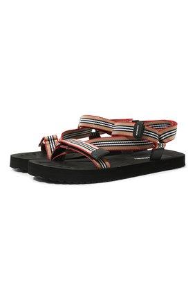 Мужские текстильные сандалии BURBERRY разноцветного цвета, арт. 8027399 | Фото 1 (Материал внешний: Текстиль)