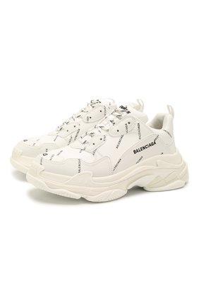 Мужские комбинированные кроссовки triple s BALENCIAGA белого цвета, арт. 536737/W2FA1 | Фото 1