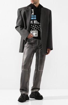 Мужские комбинированные кроссовки triple s BALENCIAGA черно-белого цвета, арт. 536737/W2FA1 | Фото 2