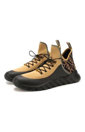 Мужские текстильные кроссовки FENDI бежевого цвета, арт. 7E1347 AAWZ | Фото 1