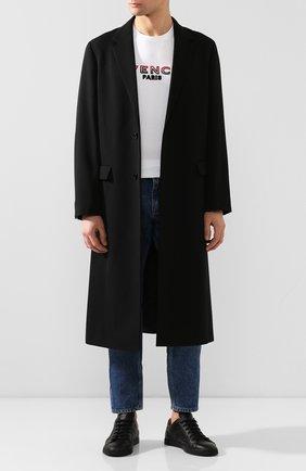 Мужские кожаные кеды FENDI черного цвета, арт. 7E1349 AAWV | Фото 2