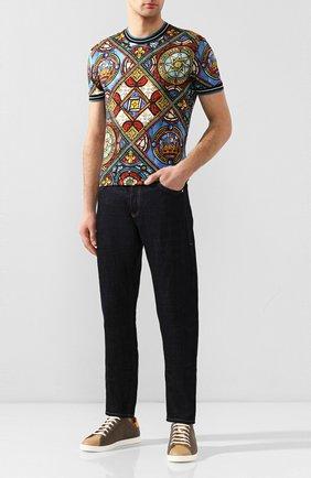 Мужские текстильные кеды FENDI хаки цвета, арт. 7E1350 AAWX | Фото 2