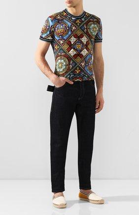 Мужские текстильные эспадрильи FENDI белого цвета, арт. 7P1348 AAX0 | Фото 2