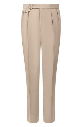 Мужские шерстяные брюки RALPH LAUREN бежевого цвета, арт. 798794542   Фото 1 (Длина (брюки, джинсы): Стандартные; Материал подклада: Вискоза; Материал внешний: Шерсть; Случай: Повседневный)