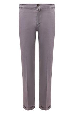 Мужской льняные брюки KITON серого цвета, арт. UFPLACJ07S40 | Фото 1