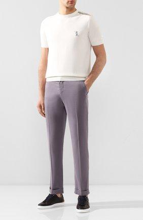 Мужской льняные брюки KITON серого цвета, арт. UFPLACJ07S40 | Фото 2