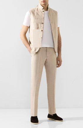 Мужской льняные брюки LORO PIANA бежевого цвета, арт. FAI6395 | Фото 2