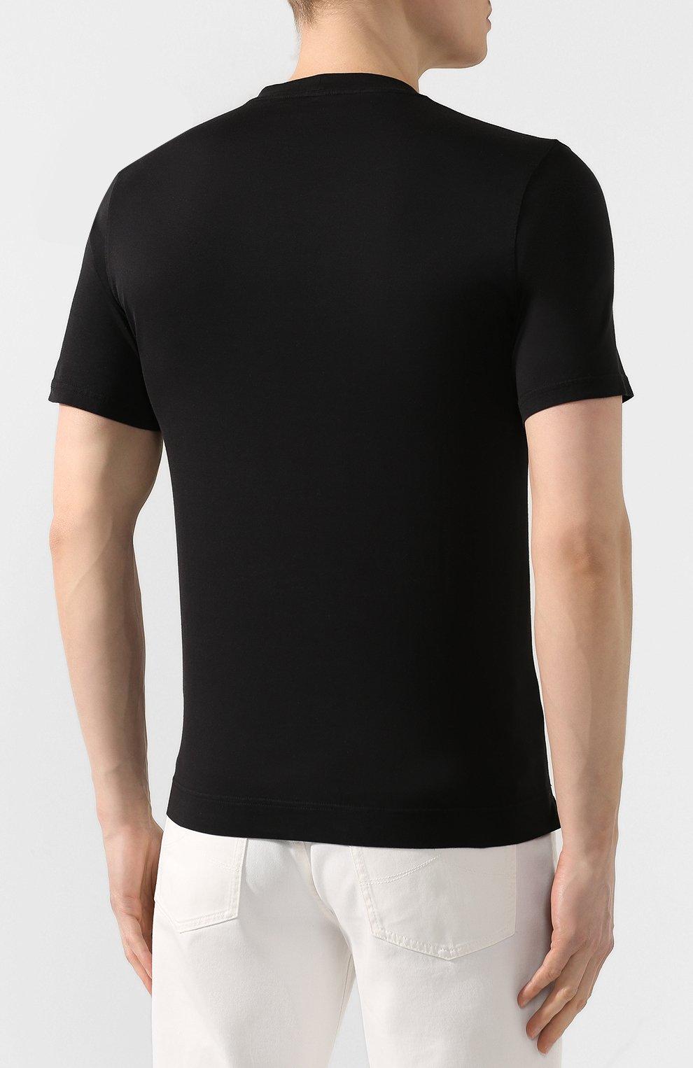 Мужская хлопковая футболка FEDELI черного цвета, арт. 3UED0103 | Фото 4