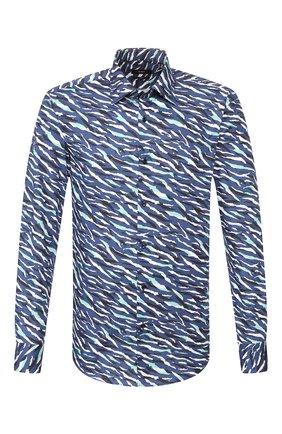 Мужская хлопковая рубашка BOSS синего цвета, арт. 50432630 | Фото 1