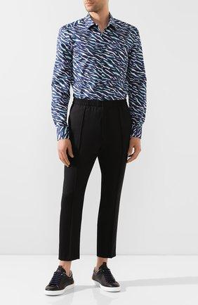 Мужская хлопковая рубашка BOSS синего цвета, арт. 50432630 | Фото 2