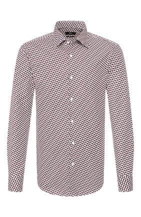 Мужская хлопковая рубашка BOSS бордового цвета, арт. 50433056 | Фото 1