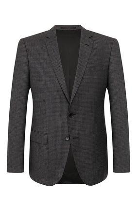 Мужской шерстяной пиджак BOSS темно-серого цвета, арт. 50432890 | Фото 1