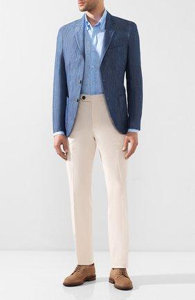 Мужская льняная рубашка PAUL&SHARK голубого цвета, арт. P20P3070 | Фото 2