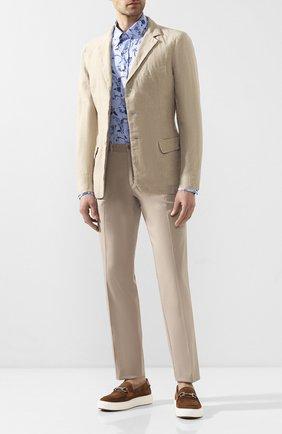 Мужская льняная рубашка PAUL&SHARK синего цвета, арт. P20P3250 | Фото 2