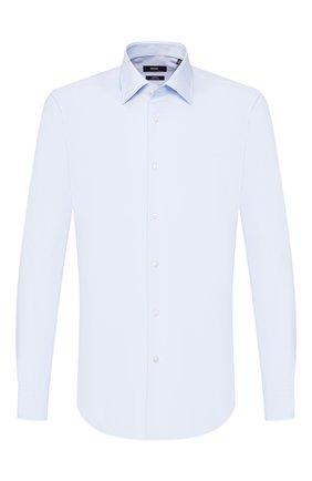 Мужская хлопковая сорочка BOSS голубого цвета, арт. 50432700 | Фото 1