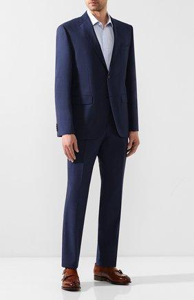 Мужская хлопковая сорочка BOSS голубого цвета, арт. 50433073 | Фото 2
