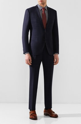 Мужской шерстяной костюм BOSS синего цвета, арт. 50432909 | Фото 1