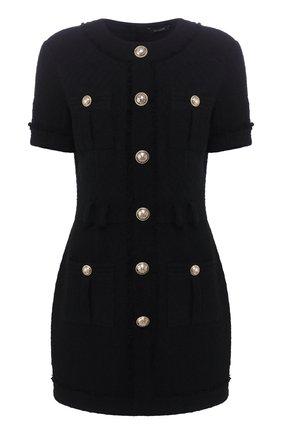 Женское хлопковое платье BALMAIN черного цвета, арт. TF16127/C222 | Фото 1