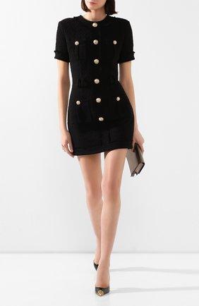 Женское хлопковое платье BALMAIN черного цвета, арт. TF16127/C222 | Фото 2