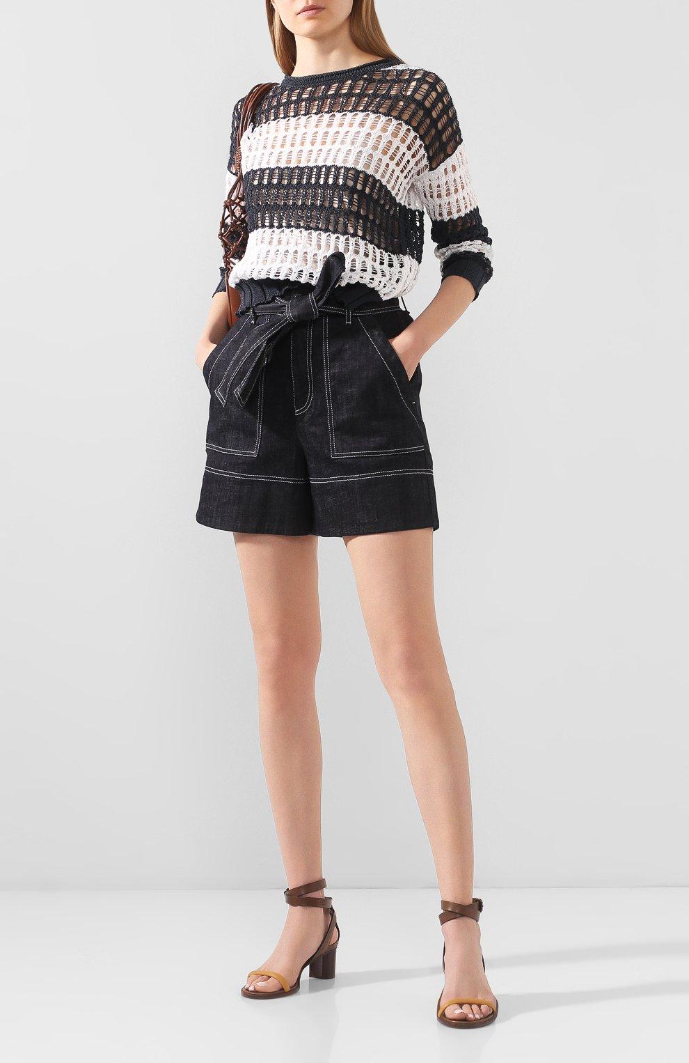 Женские джинсовые шорты LORENA ANTONIAZZI темно-синего цвета, арт. P2022PA107/3219 | Фото 2 (Женское Кросс-КТ: Шорты-одежда; Длина Ж (юбки, платья, шорты): Мини; Материал внешний: Хлопок; Стили: Кэжуэл)