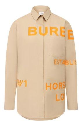 Женская хлопковая рубашка BURBERRY бежевого цвета, арт. 8029006 | Фото 1
