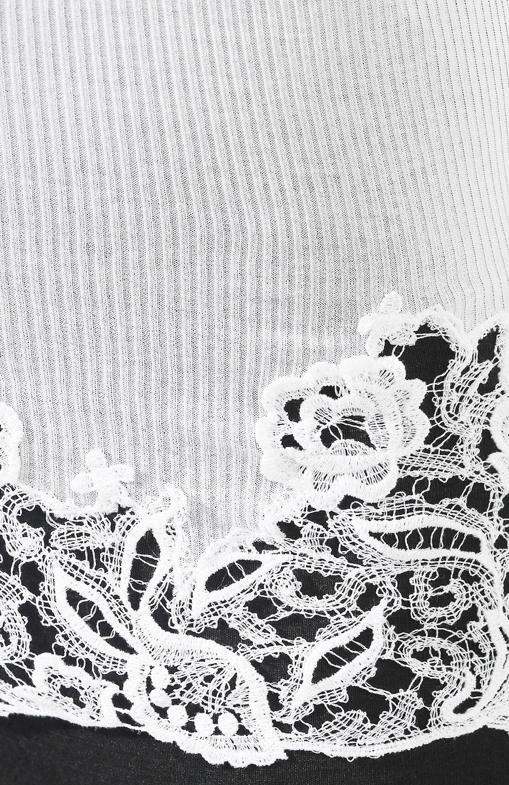 Женская хлопковая майка DANA PISARRA белого цвета, арт. AMALFI/2006 | Фото 5 (Рукава: Короткие; Длина (для топов): Удлиненные; Материал внешний: Хлопок; Женское Кросс-КТ: Домашние топы)