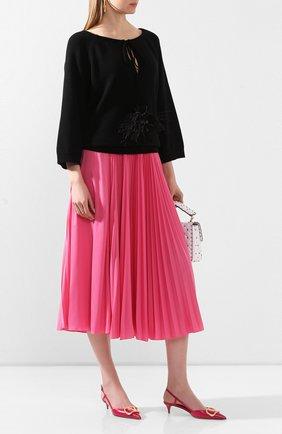 Женская плиссированная юбка VALENTINO фуксия цвета, арт. TB0MD01T4TJ | Фото 2