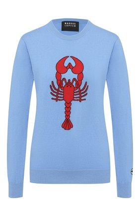 Женская хлопковый пуловер MARKUS LUPFER голубого цвета, арт. KN2878 | Фото 1