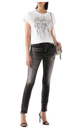 Женская хлопковая футболка BALMAIN белого цвета, арт. TF01351/P040 | Фото 2