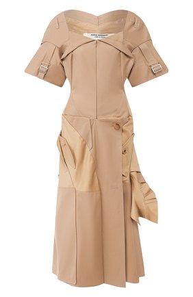 Женское хлопковое платье JUNYA WATANABE бежевого цвета, арт. JE-0002-051   Фото 1