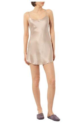 Женская шелковая сорочка LUNA DI SETA бежевого цвета, арт. VLST08008 | Фото 2